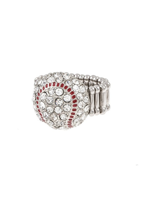Baseball Rhinestone Ring