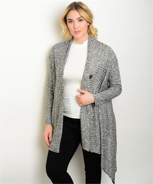 Plus Size Drape Cardigan
