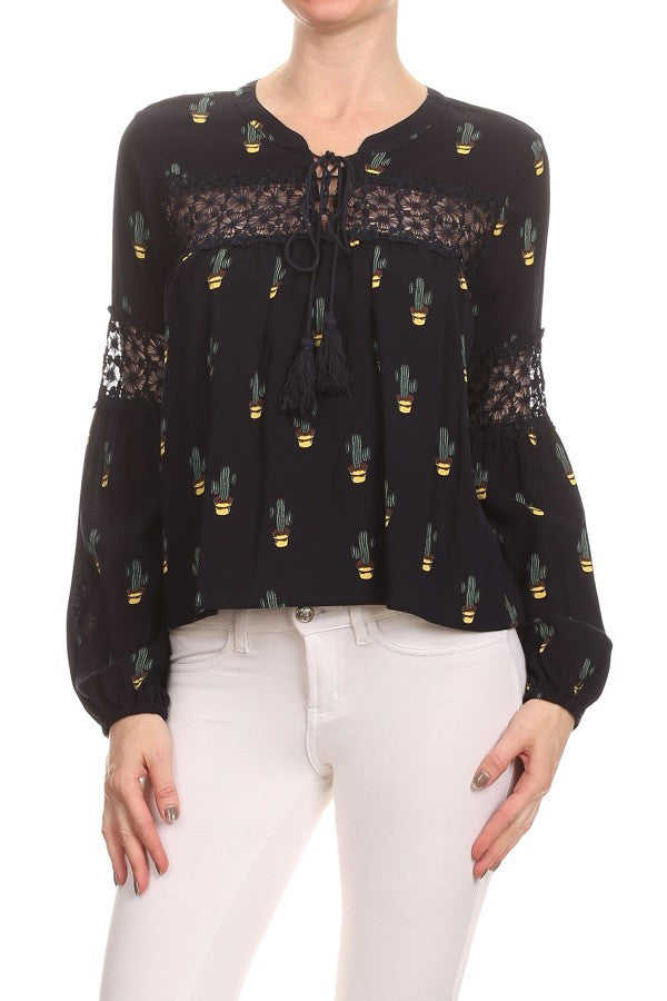 Cactus Print Long Sleeve Blouse