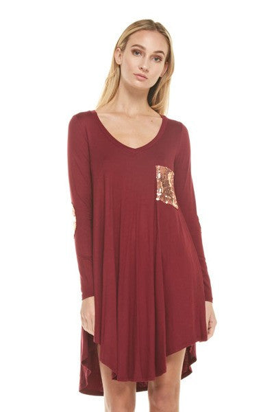 Sequin Pocket & Elbow Patch Tunic