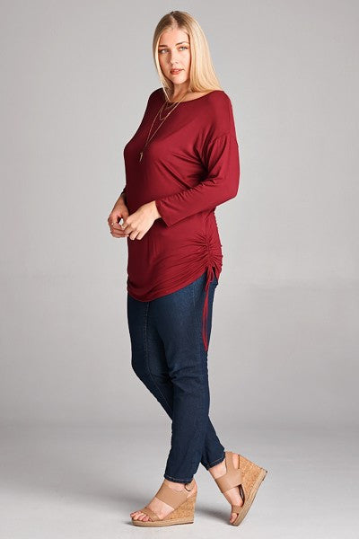 Plus Size Long Sleeve Shirring Tunic