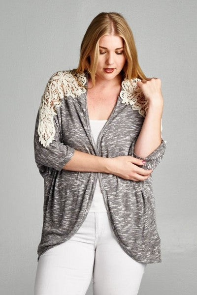 Plus Size Lace Detail Cardigan