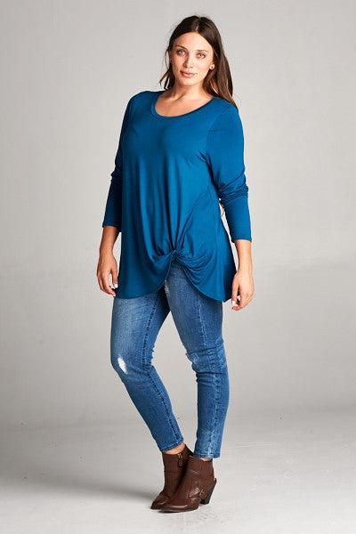 Plus Size Long Sleeve Twist Top