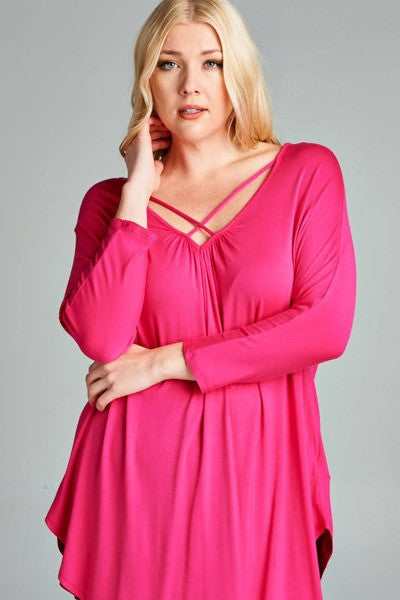Plus Size Strappy Deep V-Neck Tunic Top