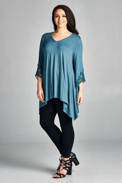 Plus Size Bell Sleeve V-Neck Top
