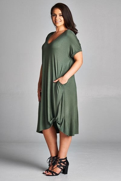 Plus Size Side Twist Jersey Dress