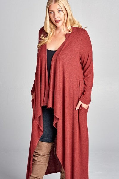 Plus Size Long Cardigan