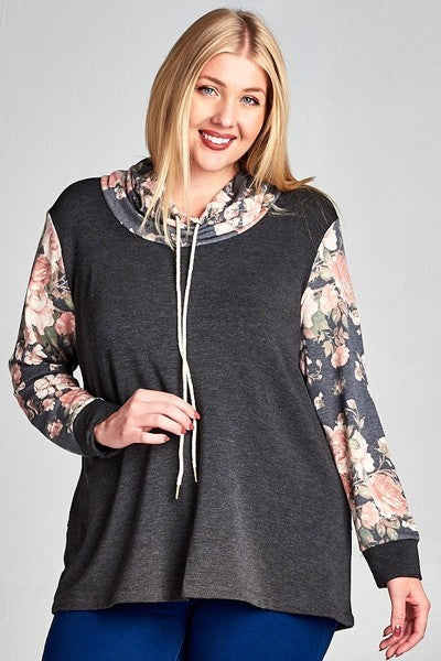 Plus Size Floral French Terry Pullover