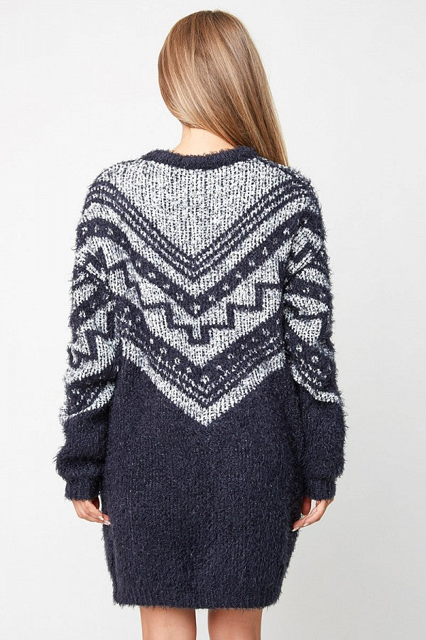 Fuzzy Tribal Cardigan Sweater
