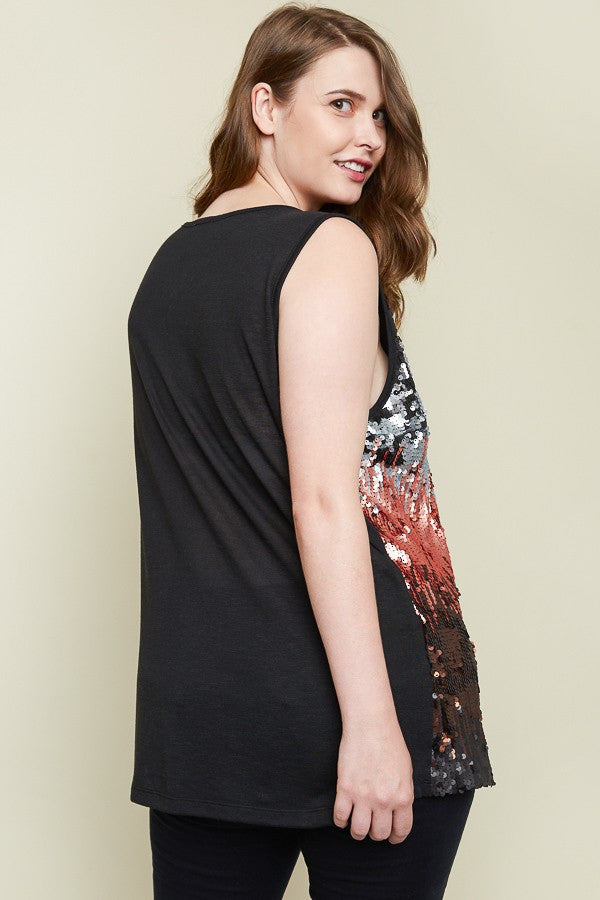 Plus Size Ombre Sequin Tank