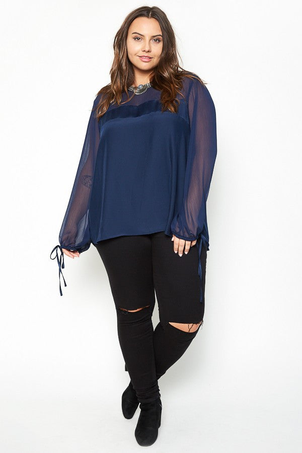 Plus Size Romantic Satin Blouse
