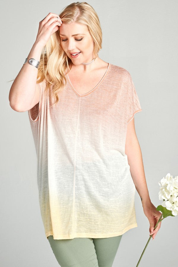 Plus Size Loose Fit V Neck