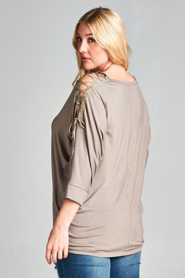 Plus Size Lace-Up Cold Shoulder Top