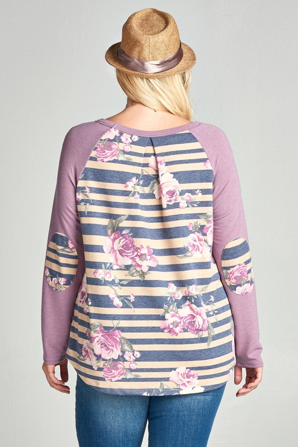 Striped Floral Raglan Top