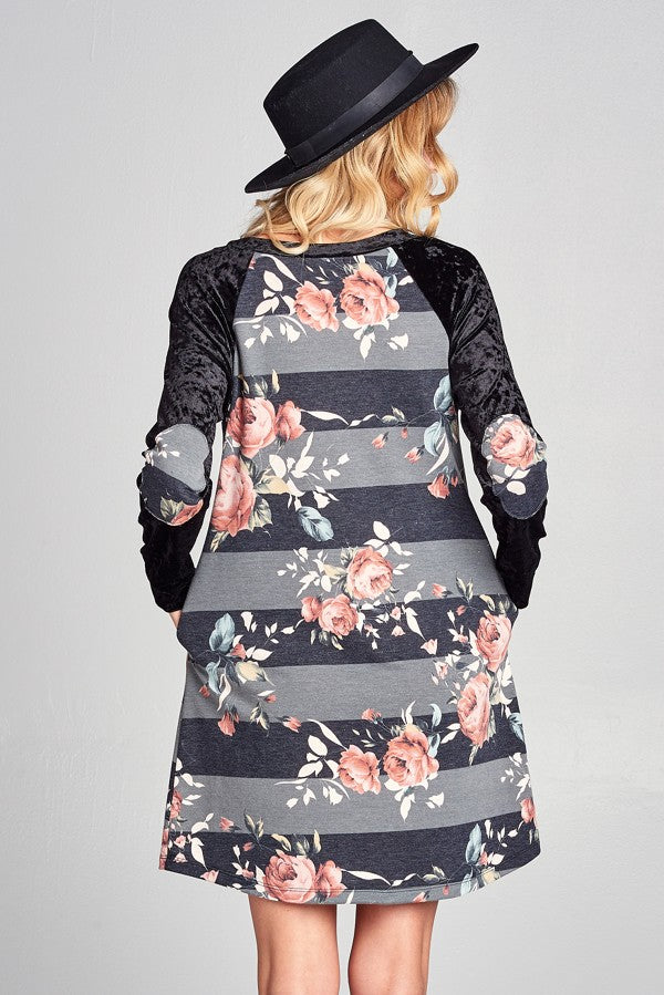 Floral Dress with Velvet Sleeves