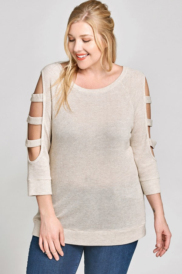 Plus Size Ladder Sleeve Sweater