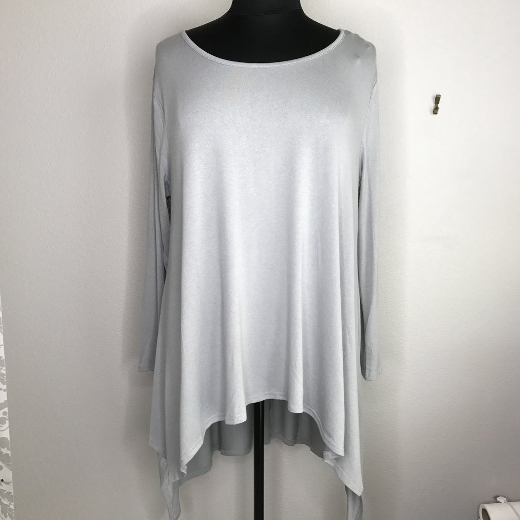Plus Size Long Sleeve High Low Top