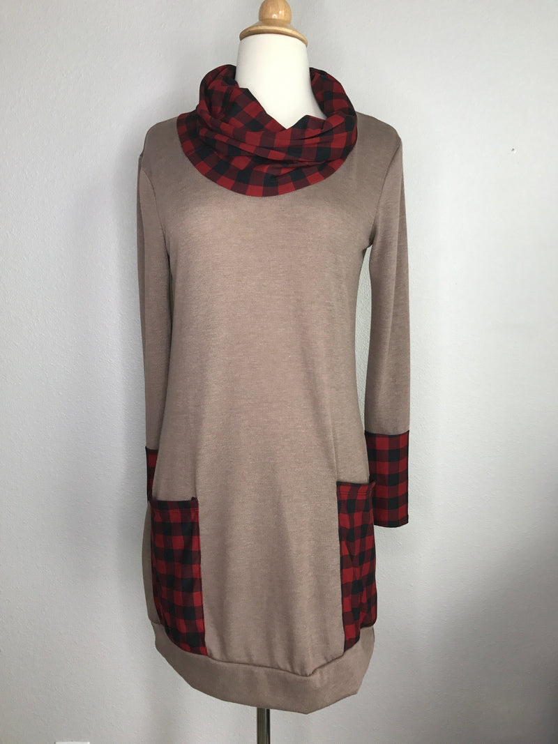 Plaid Trim Sweater Dress