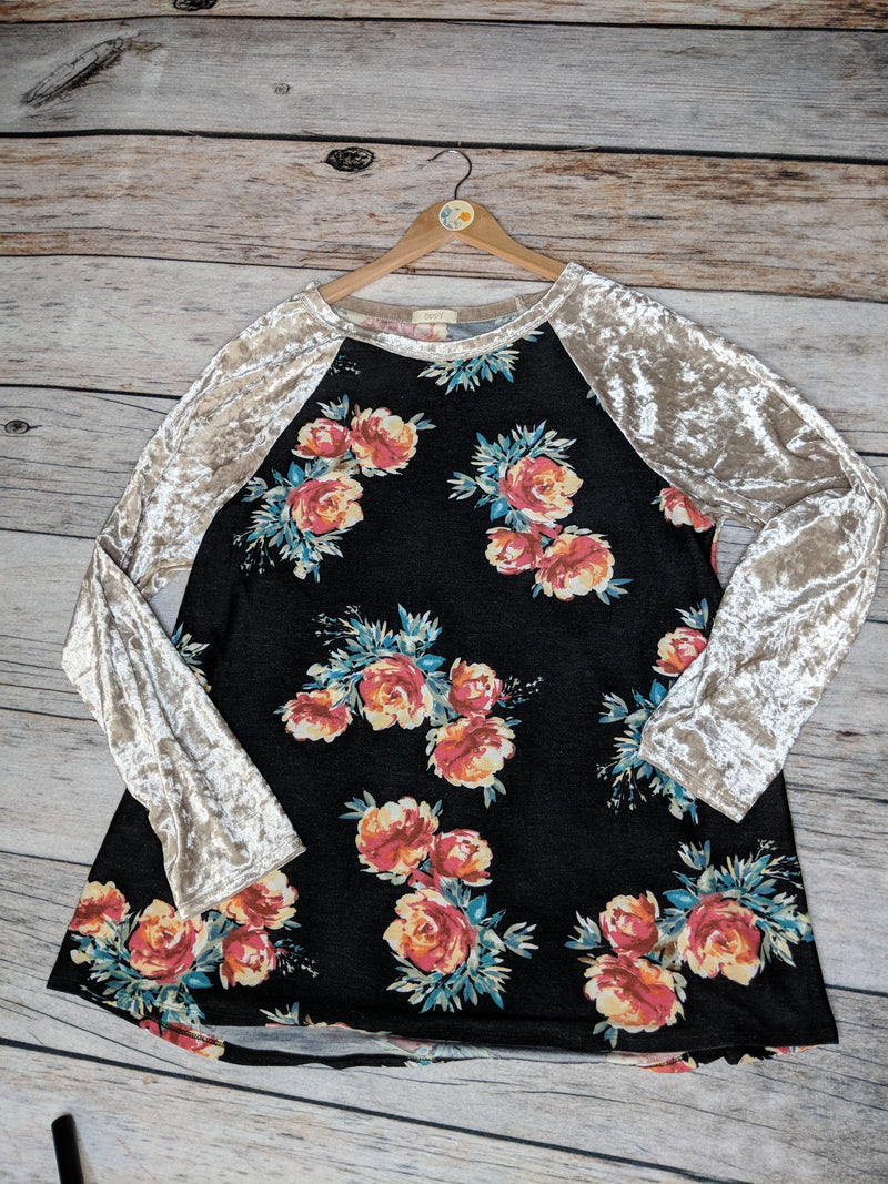Plus Size Floral Raglan with Velvet Sleeves
