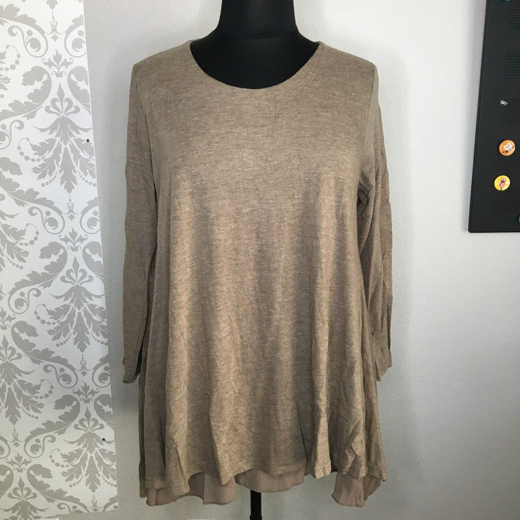 Plus Size Long Sleeve Layered Flare Top