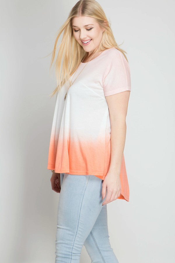 Short Sleeve Ombre Tie Dye Top