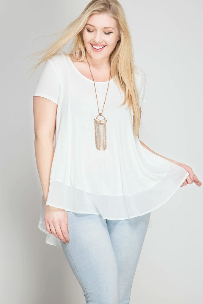 Plus Size Contrast Hem Top