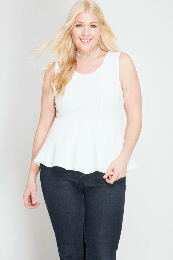 Plus Size Sleeveless Peplum Top