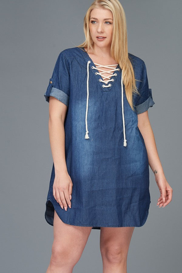 Plus Size Denim Lace Up Mini Dress