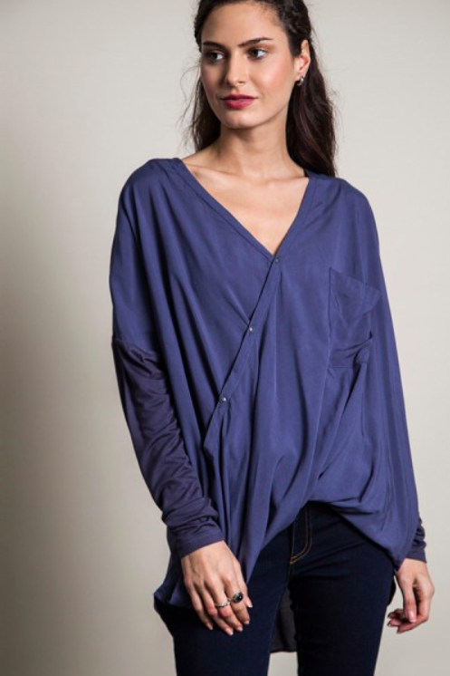 Long Sleeve Button Drape Top