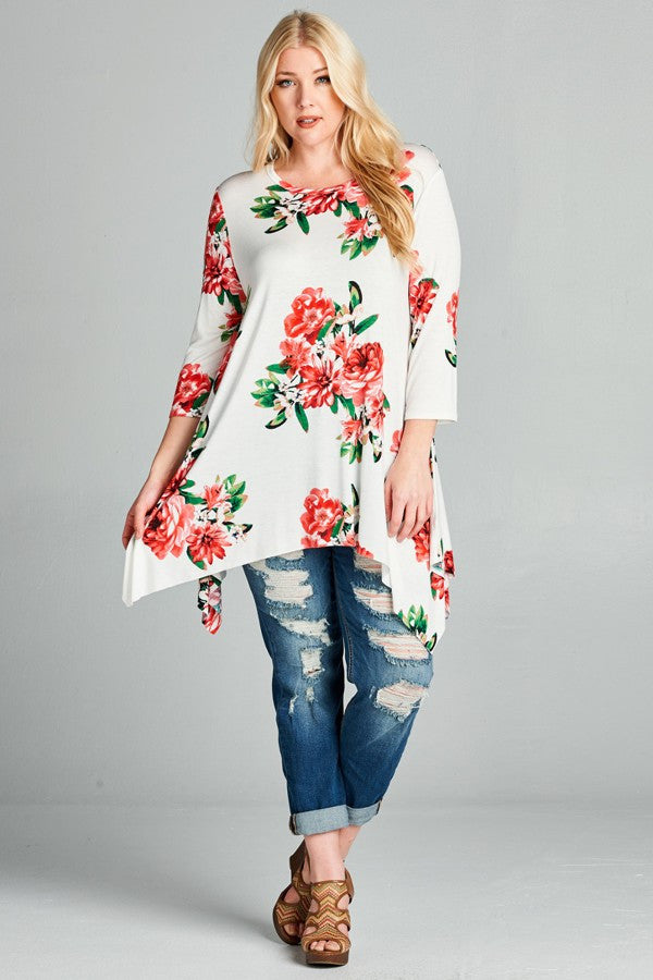 Plus Size Floral Print Swing Top