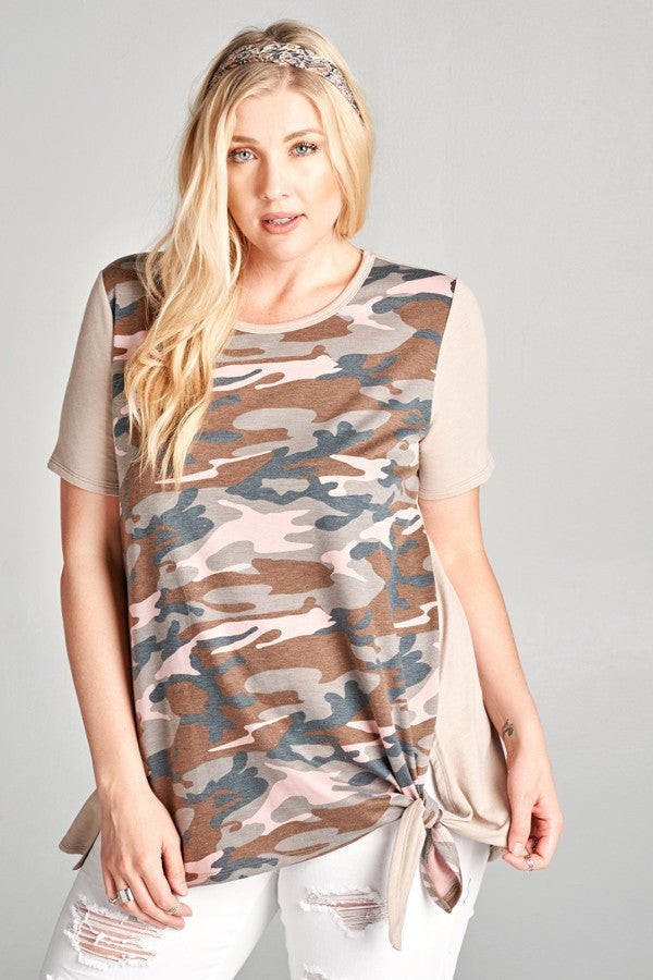Plus Size Camouflage Print Top