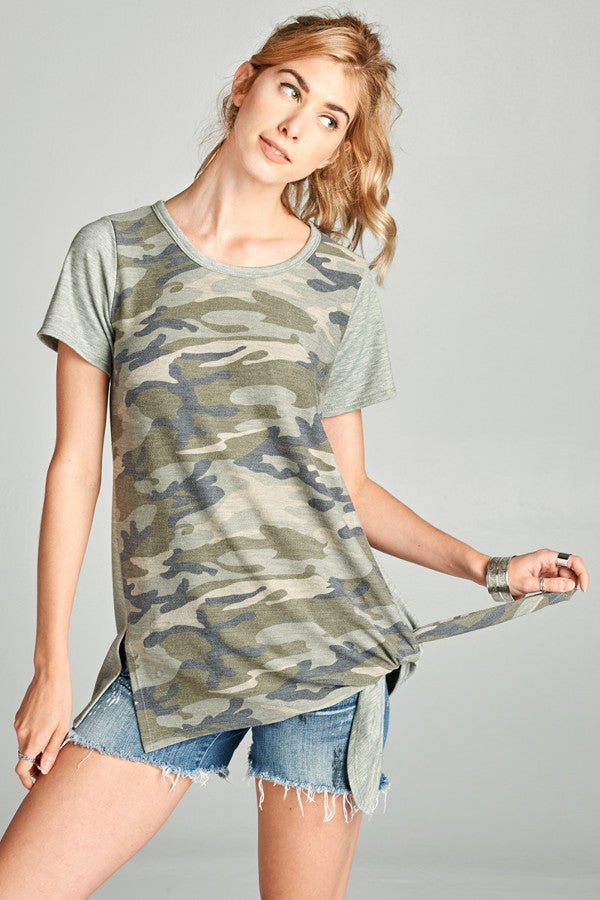Faded Camouflage Print Top