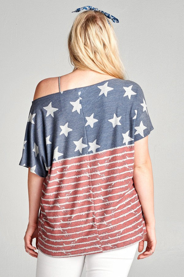 Plus Size American Flag Print Top