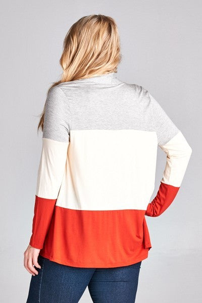 Plus Size Tri Color Cardigan