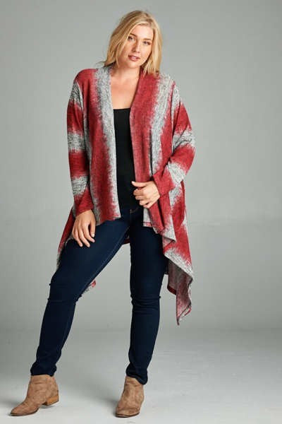 Plus Size Open Cardigan