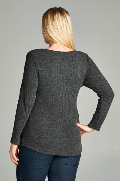 Plus Size Drape Front Sweater