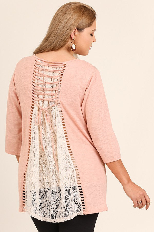 Plus Size Lace Back & Tie Detail Top