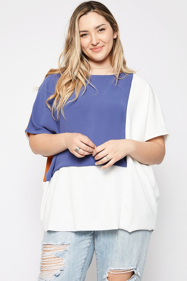 Plus Size Colorblock Top
