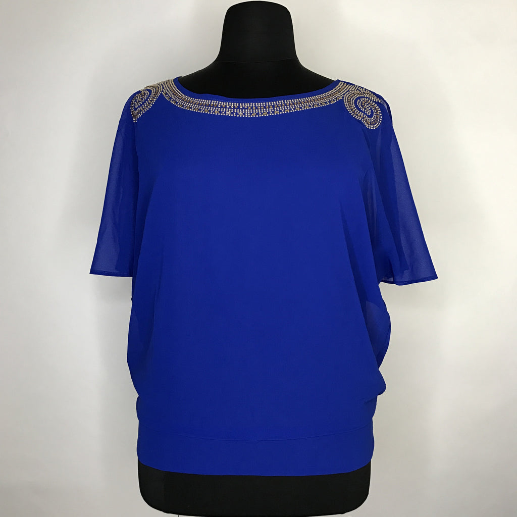 Plus Size Short Sleeve Embellished Top