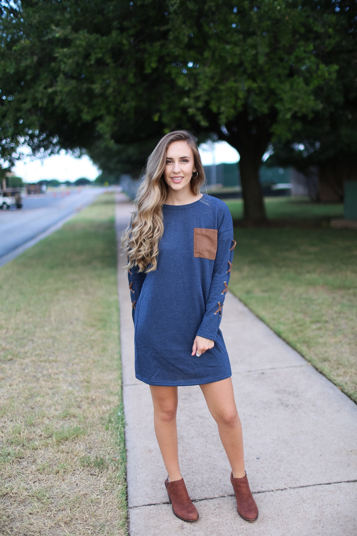 49187f0df Long Sleeve French Terry Shift Dress