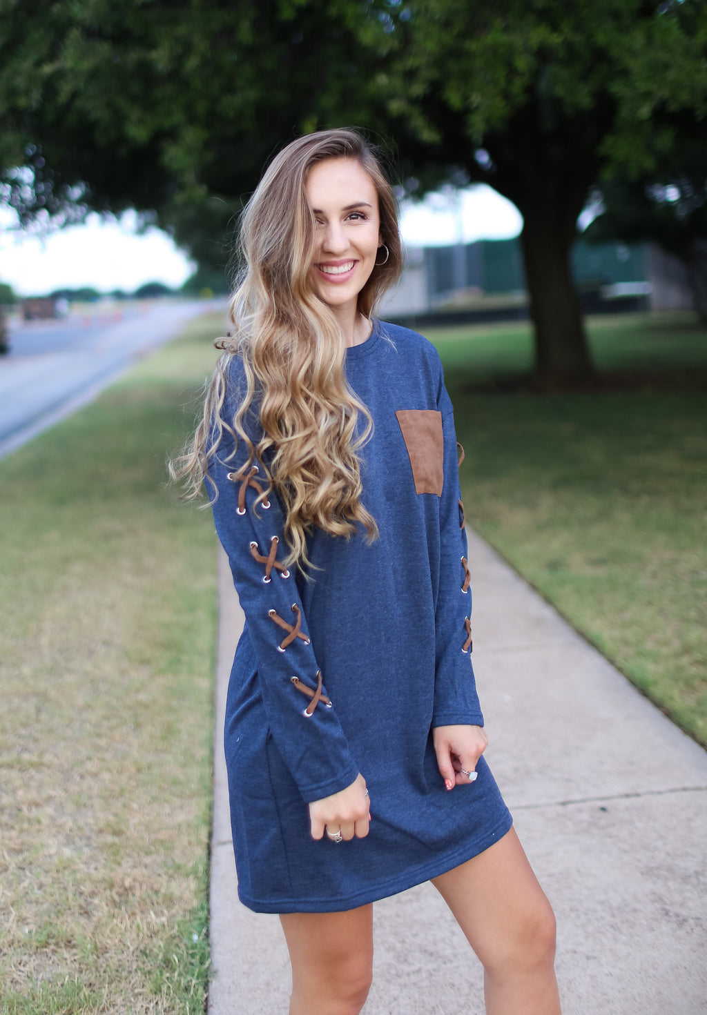 Long Sleeve French Terry Shift Dress
