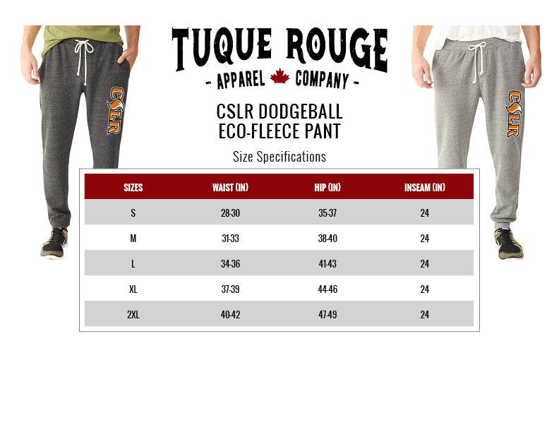 Dodgeball Eco-Fleece Pant Size Chart