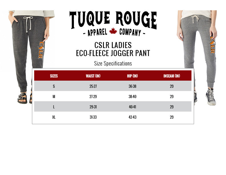 Ladies Eco-Fleece Jogger Size Chart