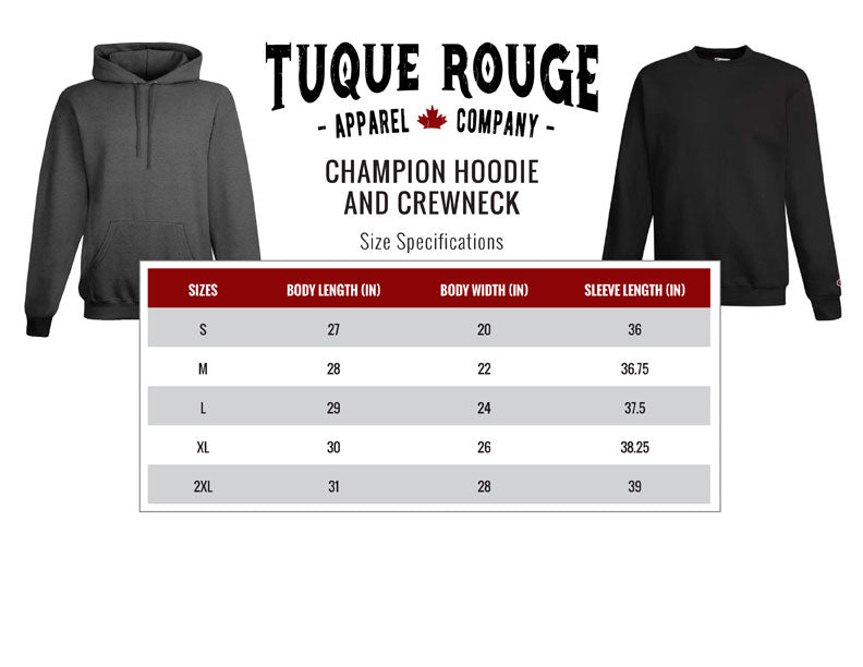 Champion Fleece Size Guide