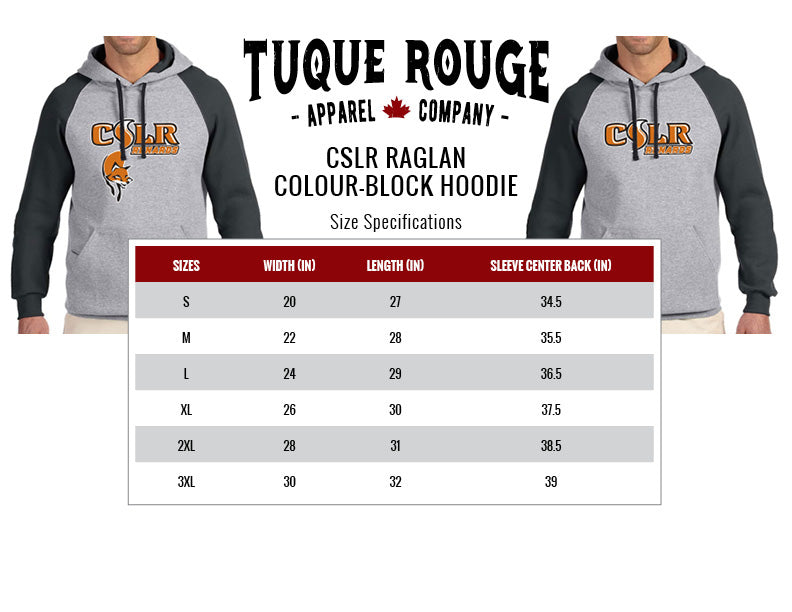 Colour-Block Hoodie Size Chart
