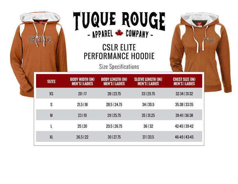 Elite Performance Hoodie Size Guide