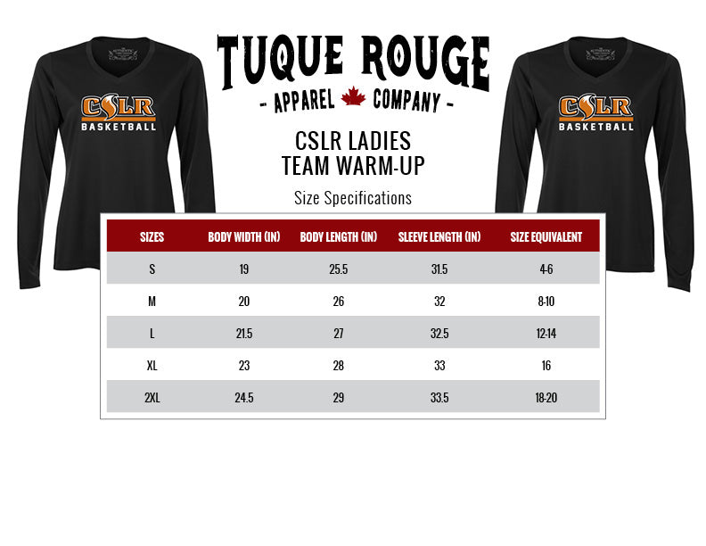 Ladies Warmup Size Guide