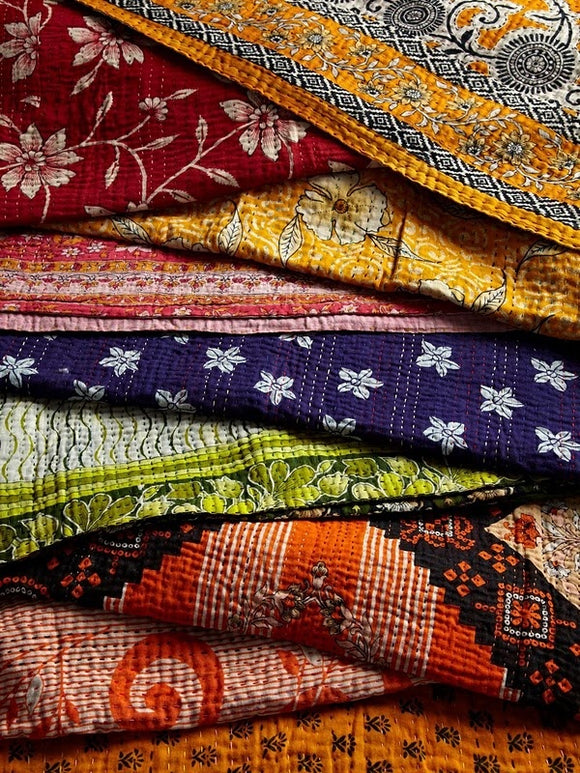 Vintage Kantha Quilts 5 Pcs Bulk Lot