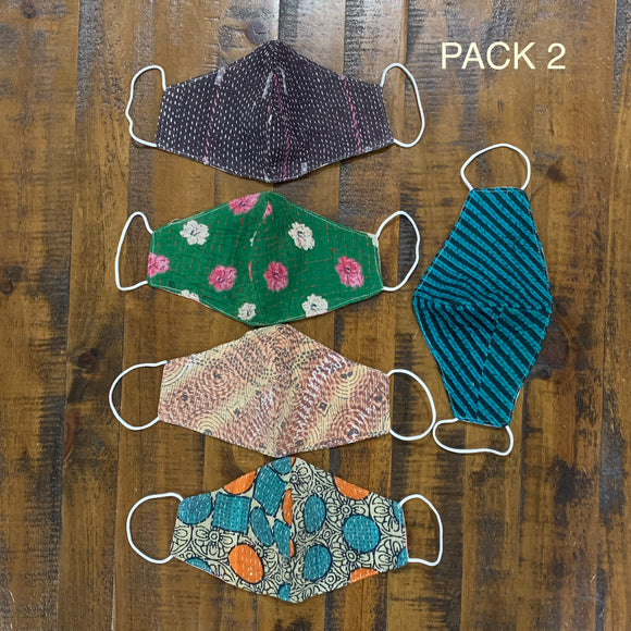 Premium Indian Cotton Reversible Washable Reusable 3 Layered Face Mask- Lot 2 (5Pcs)