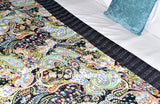 Handmade Black Paisley Print Cotton Reversible Kantha Quilt Bedspread Throw